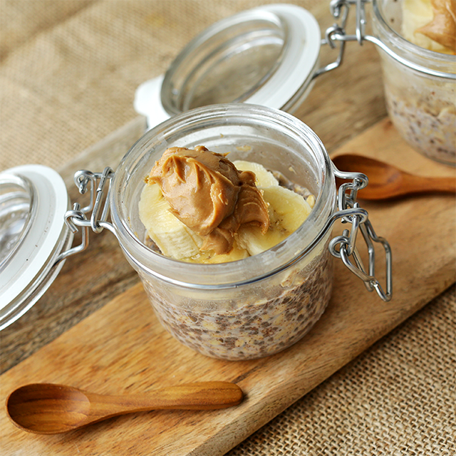 peanut butter and banana overnight oats in a pot