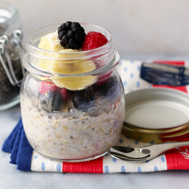 mixed berry overnight oats made with a combination of blackberries, banana and raspberries