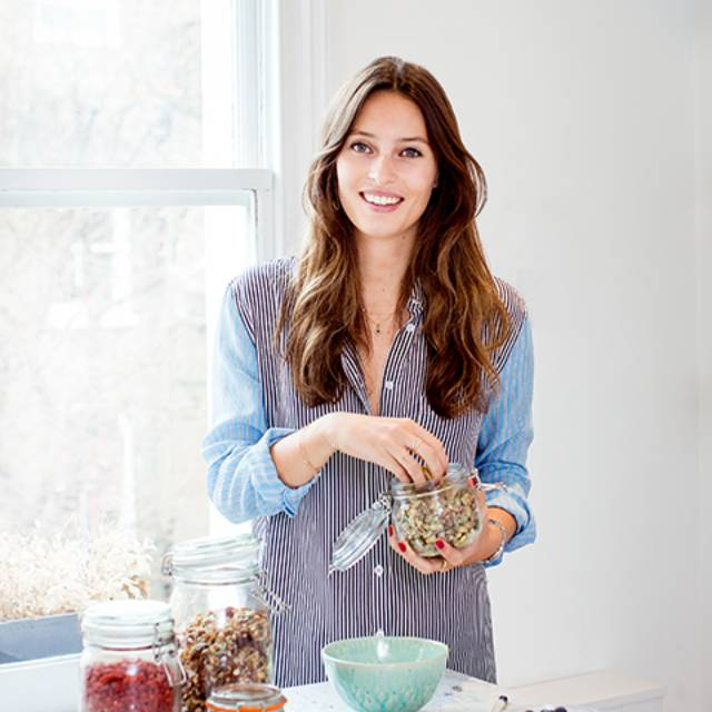 Ella Woodward preparing her simple Deliciously Ella's vanilla and coconut overnight oats
