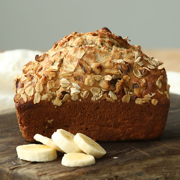 best banana bread with oats and banana mixture