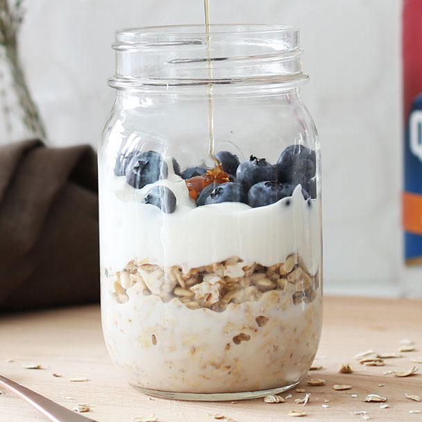 blueberry and honey overnight oats topped with honey
