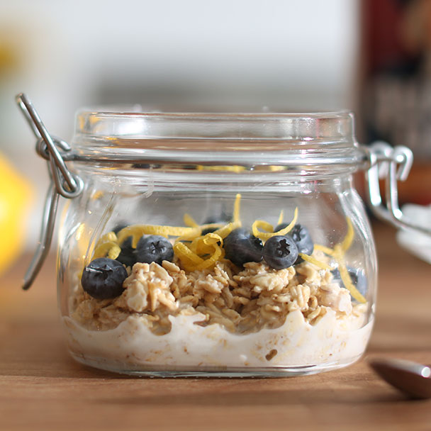 blueberry lemon overnight oats in a glass