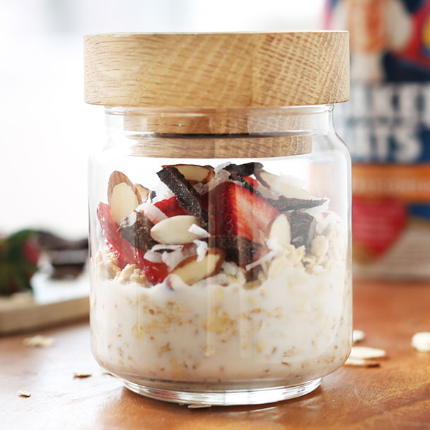 chocolate coconut overnight oats made with almond, coconut and maple syrup