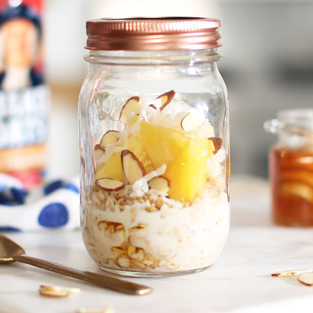 pina colada overnight oats in a glass